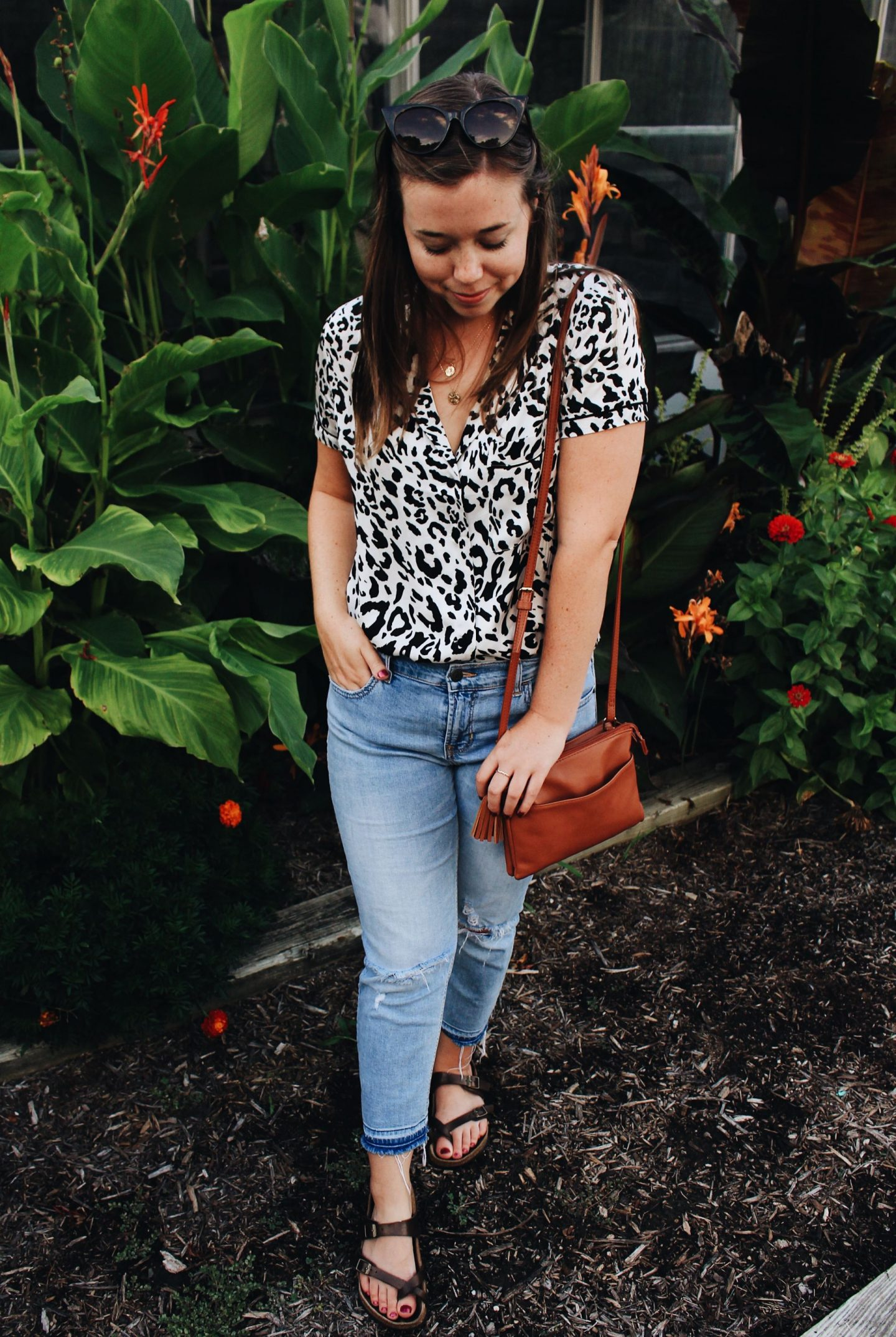 leopard top and jeans